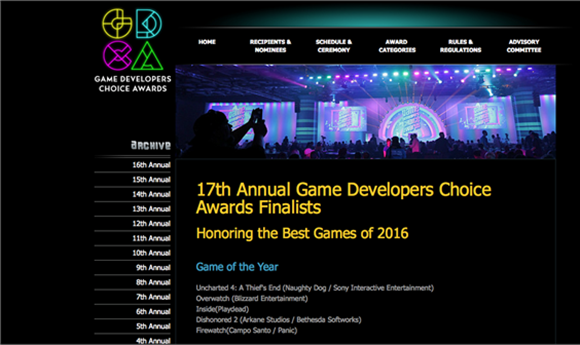 2017 Game Developers Choice Award Nominations Released